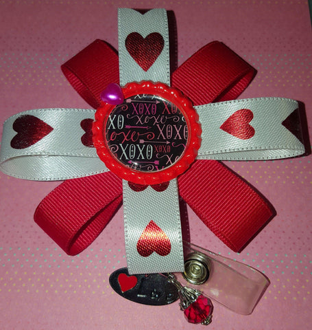 Image of Red Hearts XOXO Valentine's Badge