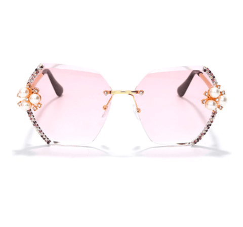 Image of GMB Hexagon Rhinestone Sunglasses