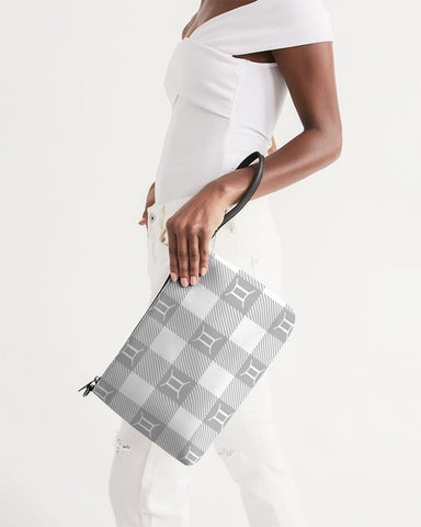 Grey And White Plaid Gemini Zip Pouch