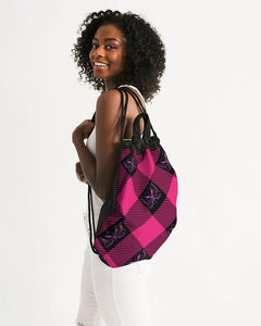 Pink and Black Plaid Drawstring Bag