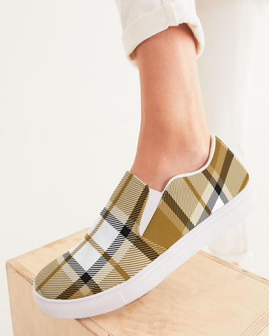 Brown And Black Plaid Slip On Shoe