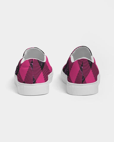 Image of GMB Pink and Black Plaid Slip-On Shoe