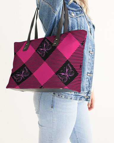 Image of PINK AND BLACK PLAID STYLISH TOTE