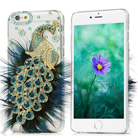 Image of Bedazzled Peacock iPhone 6 Plus and 6S Plus Case