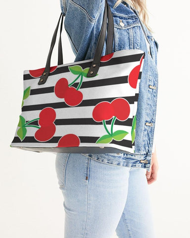CHERRY STRIPED STYLISH TOTE
