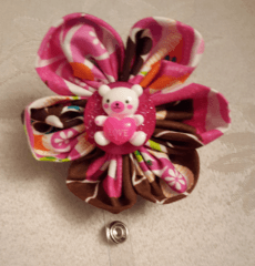 Teddy Bear Kanzashi Flower Badge