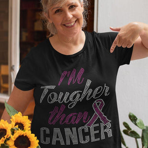 I'm Tougher Than Cancer Awareness Rhinestone T-Shirt