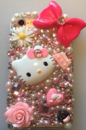 Image of Bedazzled Pink Hello Kitty iPhone 7 case