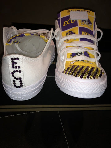 Image of Bedazzled ECU Pirates Low Top ALL STAR Converses