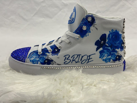 "Image of GMB Bedazzled Bride ""Something Blue"" High Top Shoe"