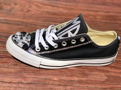 GMB Monogram Rhinestone Low Top Sneaker