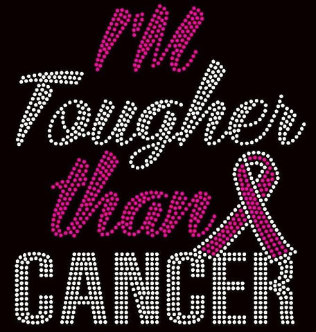 Image of I'm Tougher Than Cancer Awareness Rhinestone T-Shirt