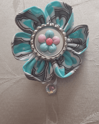 Chevron Kanzashi Flower Badge