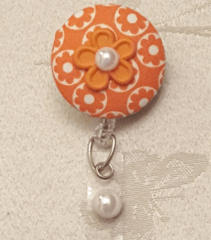 Orange Flower Fabric Cover Button Badge