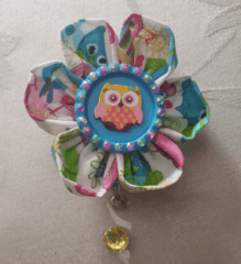 Owl Kanzashi Flower Badge