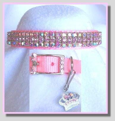 Prissy Pink Bling Dog Collar