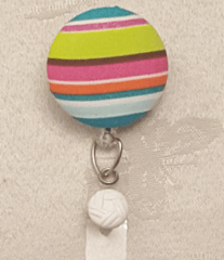 Striped Fabric Cover Button Badge