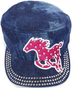 Rhinestone Cadet Cap - Horse - Splash Dark Denim
