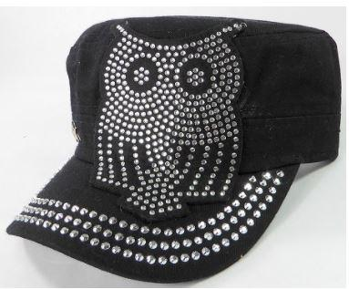 Image of Rhinestone Cadet Hats - Owl - Black