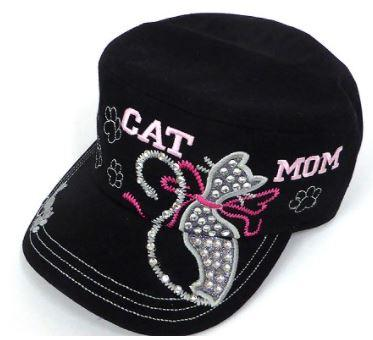 Rhinestone Castro Caps - Cat Mom - Black