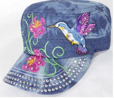 Rhinestone Hummingbird Cadet Hats - Splash Dark Denim