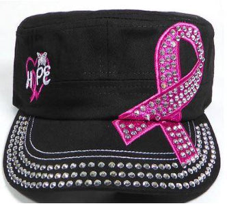 Rhinestone Pink Ribbon Castro Hat - Hope - Black