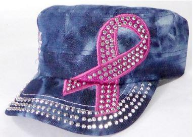 Rhinestone Pink Ribbon Castro Hat - Hope - Splash Dark Denim