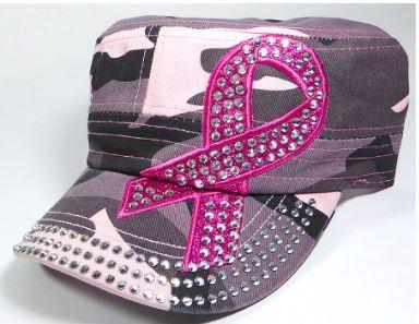 Image of Rhinestone Pink Ribbon Castro Hats - Hope - Pink Camo