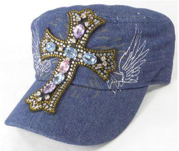 Rhinestone Women's Cadet Hat - Angelic Cross - Dark Stone