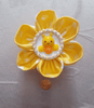 Yellow Polka-Dot Kanzashi Flower Badge