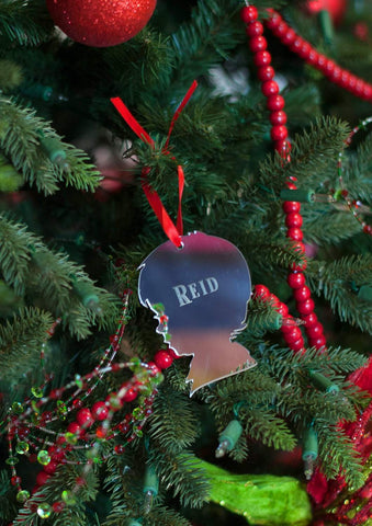 Boy Silhouette Mirrored Acrylic Ornament