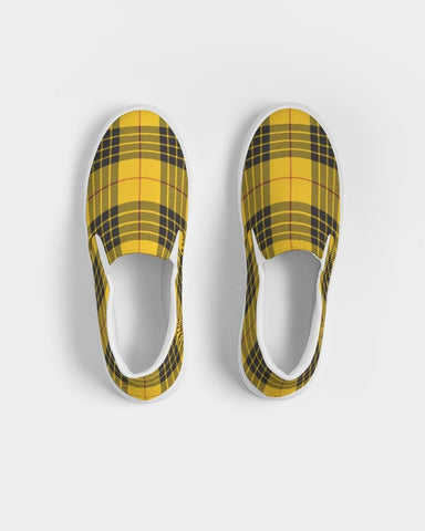 Black And Yellow Plaid Slip On Shoe Women's Slip-On Canvas Shoe