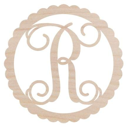 Image of Scallop Design Wood Monogram