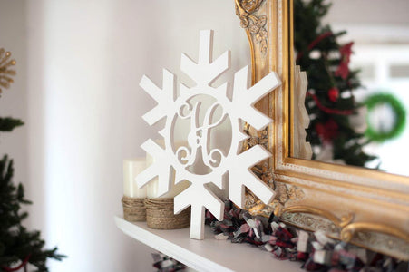 Snowflake Wood Monogram