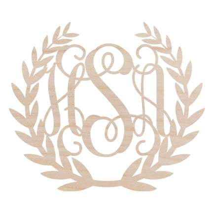 Image of Wreath Design Three Initial Wood Monogram