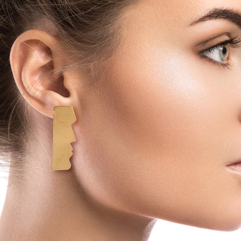Gold Brass Easter Island Earrings