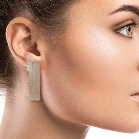 Silver Brass Easter Island Earrings