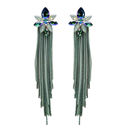 Green Crystal Chain Fringe Earrings