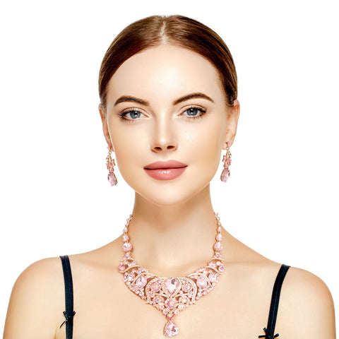 Pink and Gold Crystal Bib Necklace