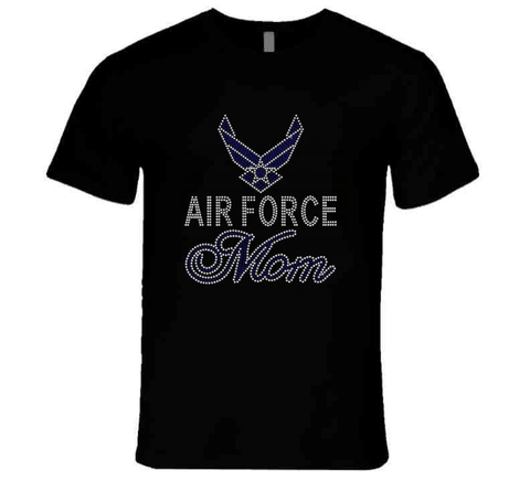 Air Force Mom Rhinestone  T-Shirt