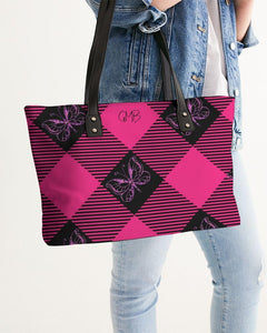 PINK AND BLACK PLAID STYLISH TOTE