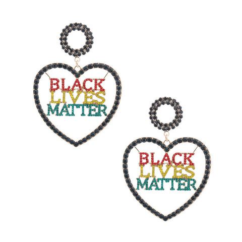 BLACK LIVES MATTER Multi Heart Earrings