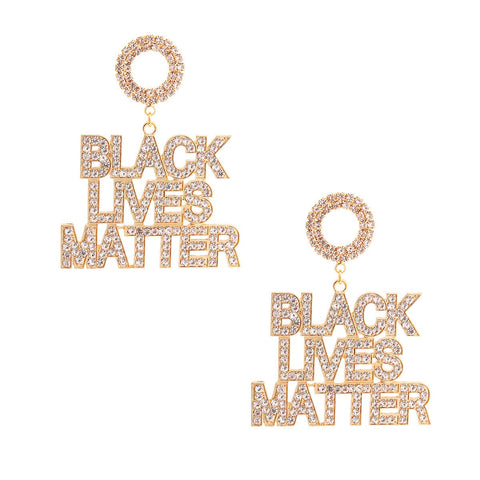 BLACK LIVES MATTER Gold Sparkle Earrings