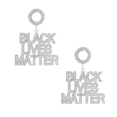 BLACK LIVES MATTER Silver Sparkle Earrings