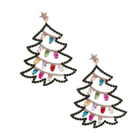 Image of Gold Sparkle Christmas Tree Earrings