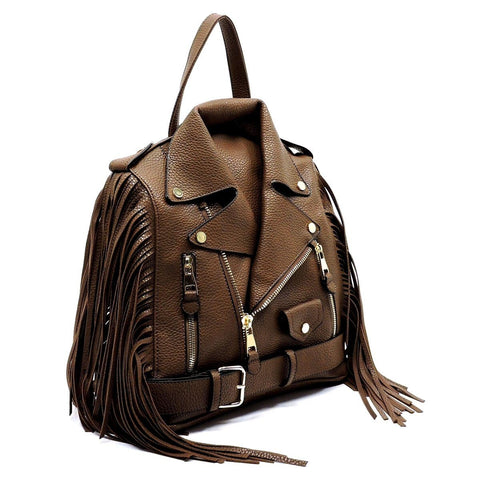 Brown Moto Jacket Fringe Backpack