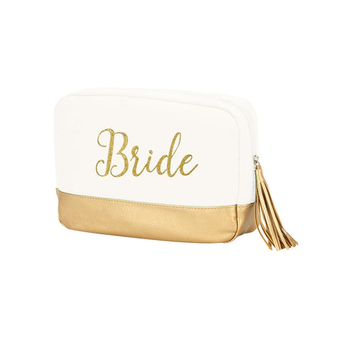 Image of Creme Cabana Cosmetic Bag Embroidered BRIDE in Gold Thread