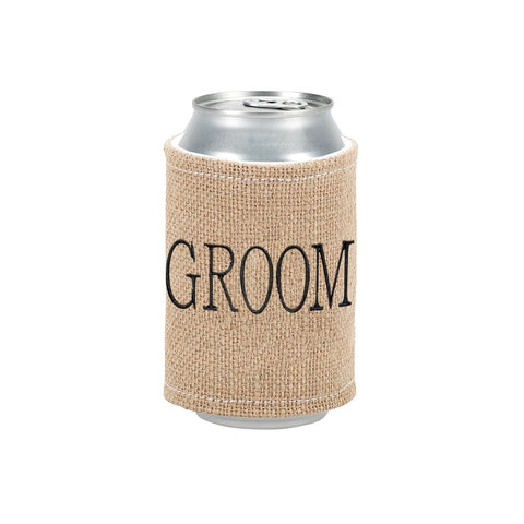 Burlap Drink Wrap Embroiderd Groom in Black Thread