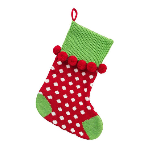 Image of Red Dot Pom-Pom Knit Stocking