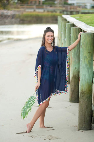 Navy Pom-Tastic Cover up